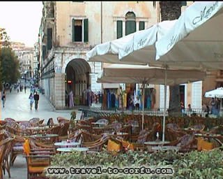CORFU WALKWAYS - A view of the central square of Corfu.