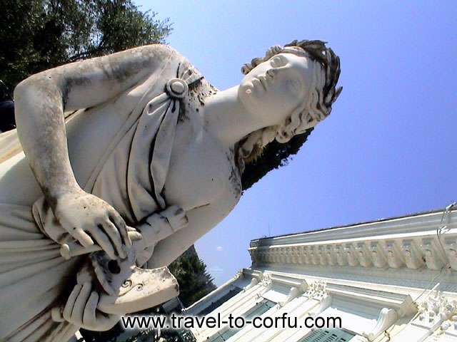 ? lot of statues that are representing deities of Greek mythology adorn the gardens of Achillion. CORFU PHOTO GALLERY - ACHILLION - MOUSSON PERISTYLION