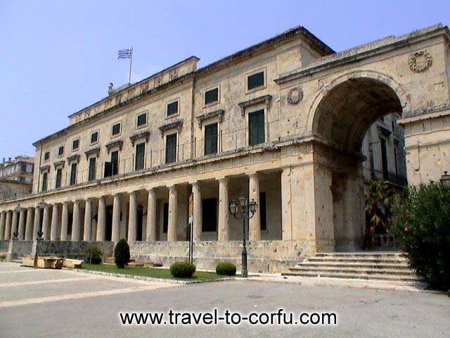 This building was used as the residence of the British Commissioner and after it housed the Ionian Senate.